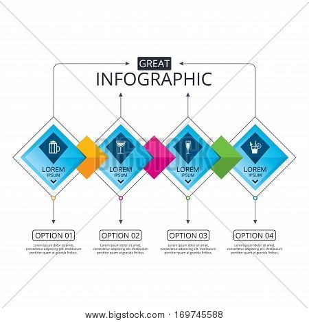 Infographic flowchart template. Business diagram with options. Alcoholic drinks icons. Champagne sparkling wine with bubbles and beer symbols. Wine glass and cocktail signs. Timeline steps. Vector