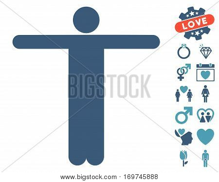 Scarecrow Pose pictograph with bonus love pictograms. Vector illustration style is flat iconic cyan and blue symbols on white background.