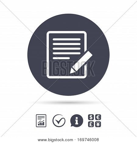 Edit document sign icon. Edit content button. Report document, information and check tick icons. Currency exchange. Vector