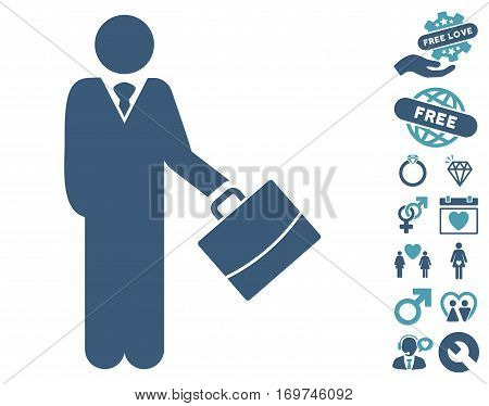 Standing Businessman icon with bonus lovely pictures. Vector illustration style is flat iconic cyan and blue symbols on white background.