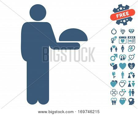 Standing Waiter icon with bonus love images. Vector illustration style is flat iconic cyan and blue symbols on white background.
