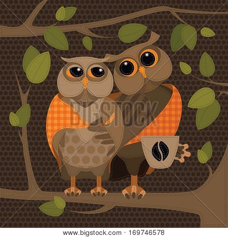 Two owls on the tree. Vector illustration in patchwork style.