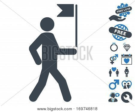 Guide Man With Flag icon with bonus lovely graphic icons. Vector illustration style is flat iconic smooth blue symbols on white background.