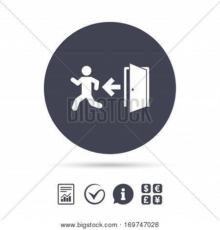 Emergency exit with human figure sign icon. Door with left arrow symbol. Fire exit. Report document, information and check tick icons. Currency exchange. Vector