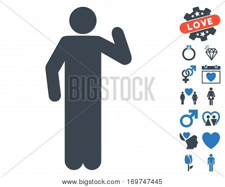 Opinion Pose pictograph with bonus lovely design elements. Vector illustration style is flat iconic smooth blue symbols on white background.