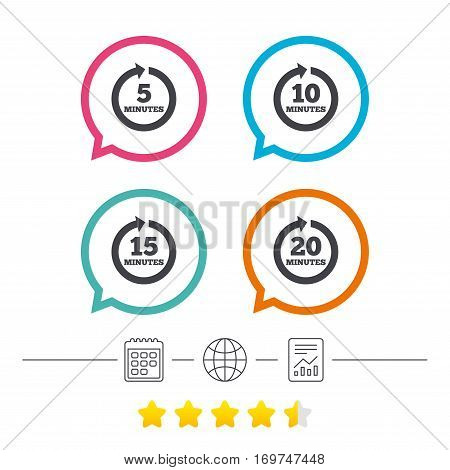 Every 5, 10, 15 and 20 minutes icons. Full rotation arrow symbols. Iterative process signs. Calendar, internet globe and report linear icons. Star vote ranking. Vector