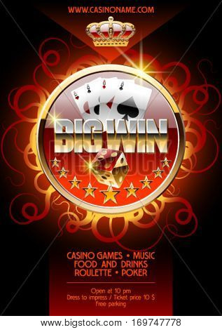 Vector poster template for night casino party with burning background