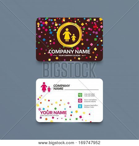 Business card template with confetti pieces. One-parent family with one child sign icon. Mother with daughter symbol. Phone, web and location icons. Visiting card  Vector