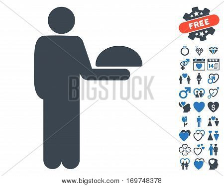 Standing Waiter pictograph with bonus dating icon set. Vector illustration style is flat iconic smooth blue symbols on white background.