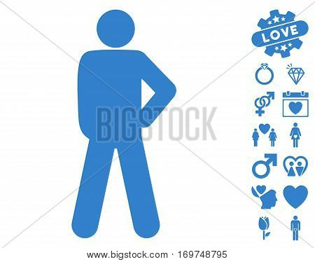 Audacity Pose pictograph with bonus love design elements. Vector illustration style is flat iconic cobalt symbols on white background.