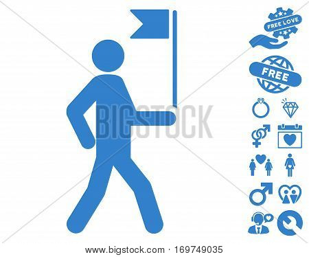 Guide Man With Flag pictograph with bonus valentine icon set. Vector illustration style is flat iconic cobalt symbols on white background.