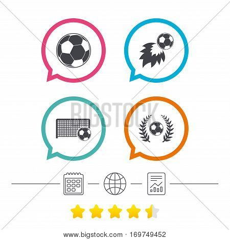 Football icons. Soccer ball sport sign. Goalkeeper gate symbol. Winner award laurel wreath. Goalscorer fireball. Calendar, internet globe and report linear icons. Star vote ranking. Vector