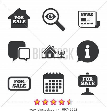 For sale icons. Real estate selling signs. Home house symbol. Newspaper, information and calendar icons. Investigate magnifier, chat symbol. Vector