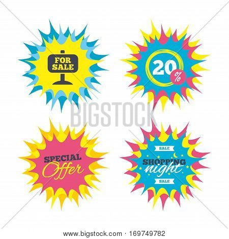 Shopping offers, special offer banners. For sale sign icon. Real estate selling. Discount star label. Vector