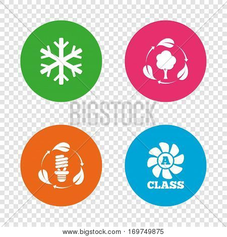 Fresh air icon. Forest tree with leaves sign. Fluorescent energy lamp bulb symbol. A-class ventilation. Air conditioning symbol. Round buttons on transparent background. Vector