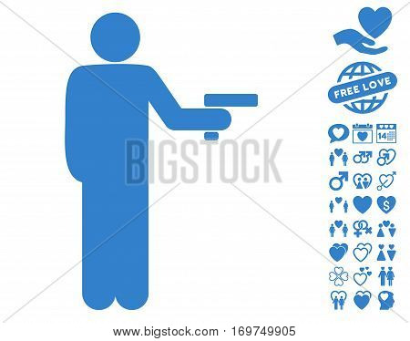 Robber With Gun icon with bonus love icon set. Vector illustration style is flat iconic cobalt symbols on white background.