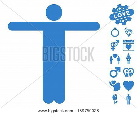Scarecrow Pose icon with bonus valentine graphic icons. Vector illustration style is flat iconic cobalt symbols on white background.