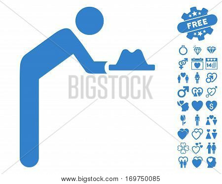 Servant With Hat icon with bonus dating pictograph collection. Vector illustration style is flat iconic cobalt symbols on white background.