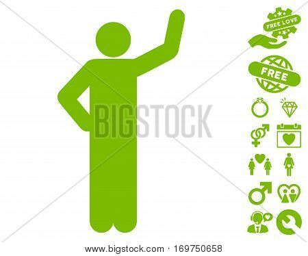 Assurance Pose pictograph with bonus valentine pictures. Vector illustration style is flat iconic eco green symbols on white background.
