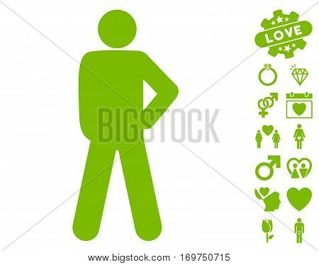 Audacity Pose icon with bonus dating pictograms. Vector illustration style is flat iconic eco green symbols on white background.