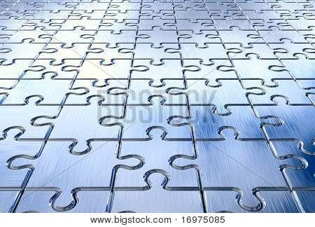 Metall puzzle background. 3d rendered image