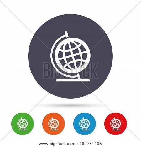 Globe sign icon. Geography symbol. Globe on stand for studying. Round colourful buttons with flat icons. Vector