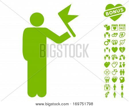 Man With Flag icon with bonus valentine clip art. Vector illustration style is flat iconic eco green symbols on white background.