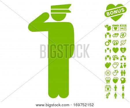 Police Officer pictograph with bonus dating icon set. Vector illustration style is flat iconic eco green symbols on white background.
