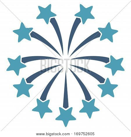 Spherical Fireworks flat icon. Vector bicolor cyan and blue symbol. Pictogram is isolated on a white background. Trendy flat style illustration for web site design, logo, ads, apps, user interface.