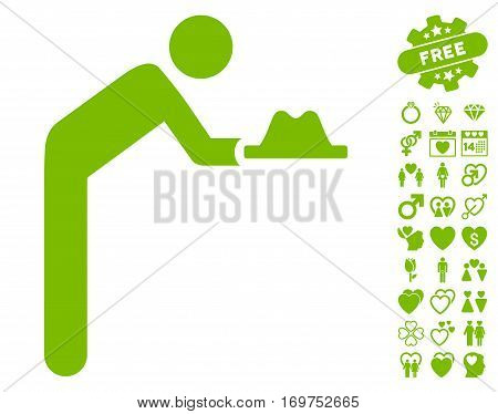 Servant With Hat icon with bonus dating design elements. Vector illustration style is flat iconic eco green symbols on white background.