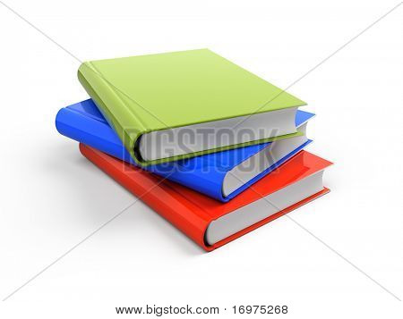 Stack of three colorful books
