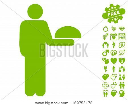 Standing Waiter pictograph with bonus valentine pictures. Vector illustration style is flat iconic eco green symbols on white background.