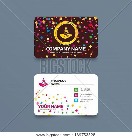 Business card template with confetti pieces. Disabled human insurance sign icon. Hand holds wheelchair man symbol. Health insurance. Phone, web and location icons. Visiting card  Vector