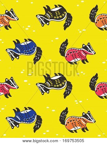 Seamless pattern of desert animals - ethnic badger with tribal ornaments. Vector illustration. Funny cartoon background.