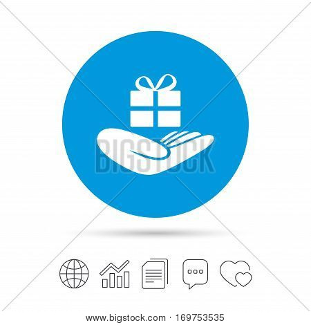Give a gift sign icon. Hand holds present box with bow. Copy files, chat speech bubble and chart web icons. Vector