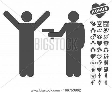 Crime Robbery pictograph with bonus love design elements. Vector illustration style is flat iconic gray symbols on white background.