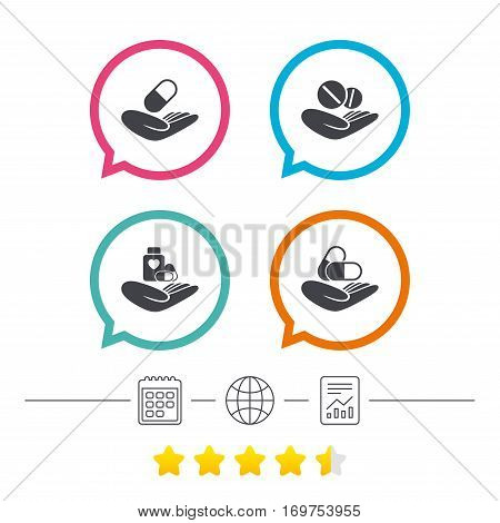 Helping hands icons. Medical health insurance symbols. Drugs pills bottle signs. Medicine tablets. Calendar, internet globe and report linear icons. Star vote ranking. Vector