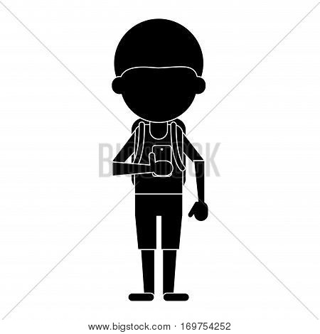 young boy looking cellphone social media pictogram vector illustration eps 10