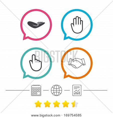 Hand icons. Handshake successful business symbol. Click here press sign. Human helping donation hand. Calendar, internet globe and report linear icons. Star vote ranking. Vector
