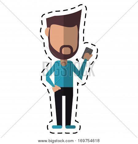 hipster man beard using cellphone digital cut line vector illustration eps 10
