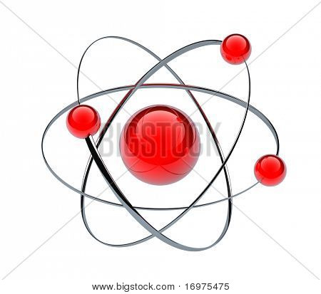 Orbital model of atom -  3d render