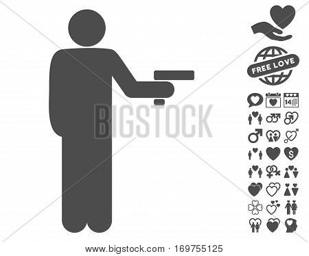 Robber With Gun pictograph with bonus valentine images. Vector illustration style is flat iconic gray symbols on white background.