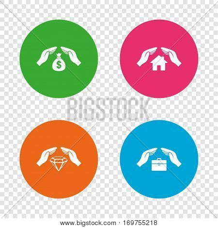 Hands insurance icons. Money bag savings insurance symbols. Jewelry diamond symbol. House property insurance sign. Round buttons on transparent background. Vector