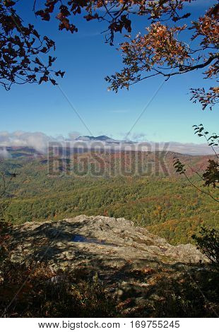 Beautiful view of the Blue Ridge Mountains' autumn foliage from Blowing Rock, NC