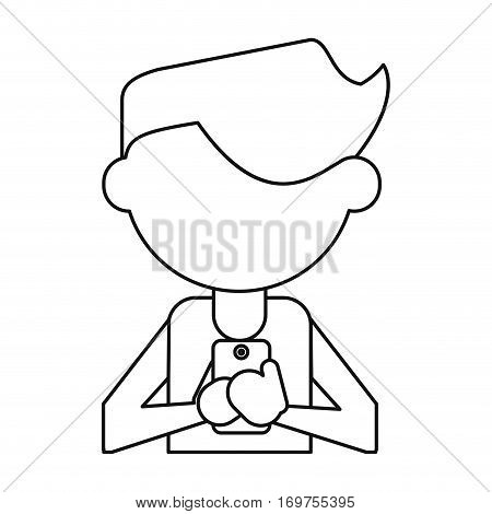 character messaging texting mobile thin line vector illustration eps 10