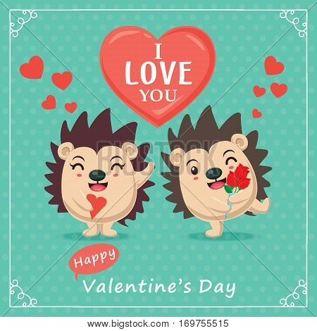 Vintage Valentines Day poster design with hedgehog, couple