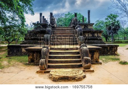 Ancient ruins Sri Lanka. Polonnaruwa temple. Medieval capital of Ceylon. Travel Sri Lanka.
