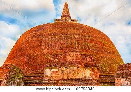 Buddhist temple. Ancient ruins Sri Lanka. Polonnaruwa temple. Medieval capital of Ceylon. Travel Sri Lanka.