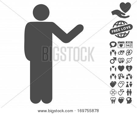 Talking Man pictograph with bonus lovely pictures. Vector illustration style is flat iconic gray symbols on white background.