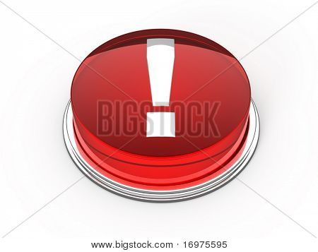 Red glass information button - 3d render
